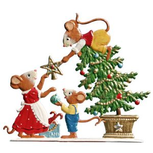Mouse Family Decorating Tree by Wilhelm Schweizer Image