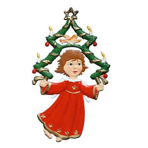 Flying Angel with Christmas Tree Ornament by Wilhelm Schweizer Image