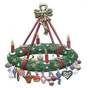 Large Advent Wreath with Gifts Ornament by Wilhelm Schweizer Image