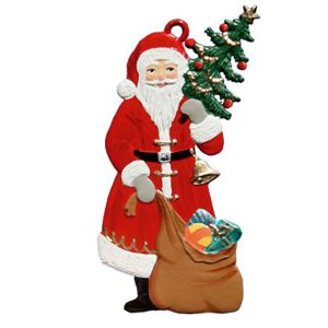 Santa with Tree and Sack Ornament by Wilhelm Schweizer Image