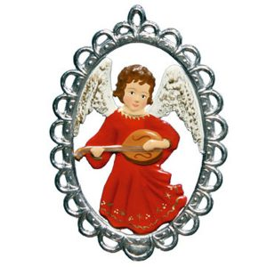 Angel with Lute in Filigree Frame Ornament by Wilhelm Schweizer Image