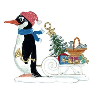 Penguin with Sled Ornament by Wilhelm Schweizer Image
