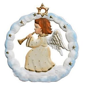 Angel in Snow Circle Ornament by Wilhelm Schweizer Image