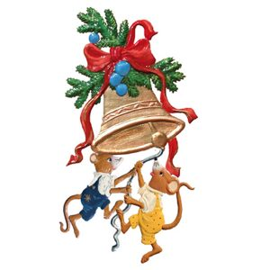 Mice Ringing the Bells Ornament by Wilhelm Schweizer Image