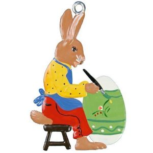 Sitting Bunny Painting Egg Ornament by Wilhelm Schweizer IMAGE