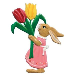 Bunny Girl with Two Tulips Ornament by Wilhelm Schweizer Image