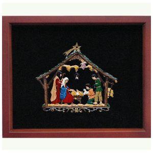 Framed Nativity Stable Wall Hanging by Wilhelm Schweizer Image