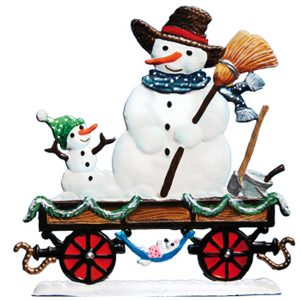 Train Car with Snowman by Wilhelm Schweizer Image