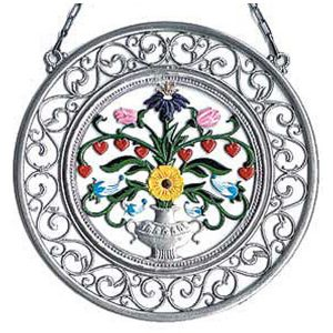 Vase with Flowers Wall Hanging in Filigree Frame by Wilhelm Schweizer Image