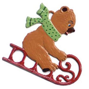 Teddy Bear on Sled Ornament by Wilhelm Schweizer Image