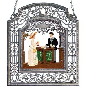 The Banker Wall Hanging in Filigree Frame by Wilhelm Schweizer Image