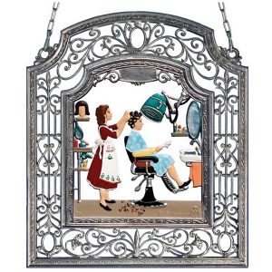 The Hairdresser Wall Hanging in Filigree Frame by Wilhelm Schweizer Image