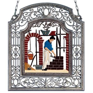 The Bricklayer Wall Hanging in Filigree Frame by Wilhelm Schweizer Image