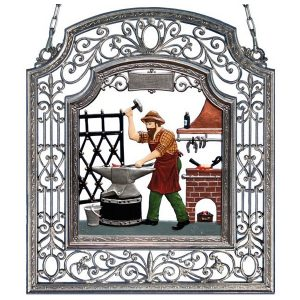 The Blacksmith Wall Hanging in Filigree Frame by Wilhelm Schweizer Image