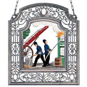 The Firefighters Wall Hanging in Filigree Frame by Wilhelm Schweizer Image