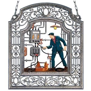 The Electrician Wall Hanging in Filigree Frame by Wilhelm Schweizer Image