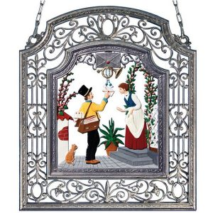 The Postman Wall Hanging in Filigree Frame by Wilhelm Schweizer Image