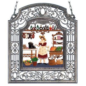 The Shopkeeper Wall Hanging in Filigree Frame by Wilhelm Schweizer Image