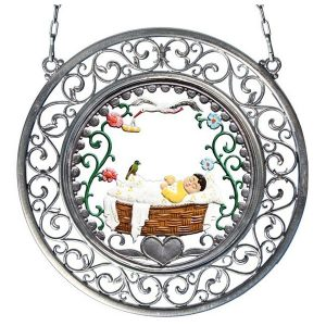 Baby Wall Hanging in Filigree Frame by Wilhelm Schweizer Image