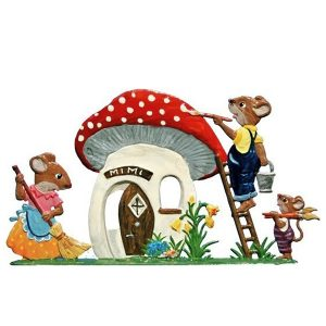 Mouse Family in Mushroom House by Wilhelm Schweizer Image