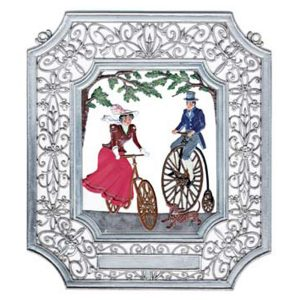 Bicycling Wall Hanging in Filigree Frame by Wilhelm Schweizer Image