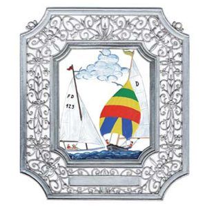 Sailing Wall Hanging in Filigree Frame by Wilhelm Schweizer Image