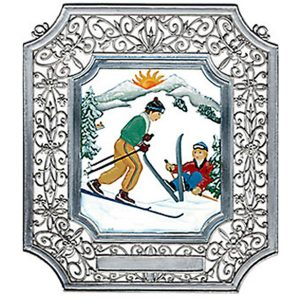 Skiing Wall Hanging in Filigree Frame by Wilhelm Schweizer Image