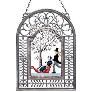 Winter Fun Wall Hanging in Filigree Frame by Wilhelm Schweizer Image