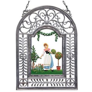 The Rose Garden Wall Hanging in Filigree Frame by Wilhelm Schweizer Image