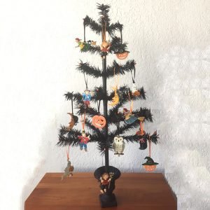 Black Halloween Feather Tree with Ornaments Image